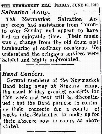 Several members of the Newmarket Band being away at Niagara camp, the usual Friday evening concerts for this week and next will be discontinued