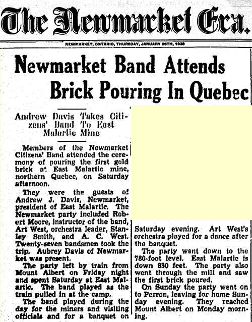 Newmarket Band Attends Brick Pouring In Quebec, Andrew Davis Takes Citizens Band to East Malartic Mine