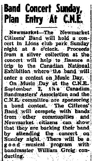 Newmarket Citizens Band Concert Sunday, Plan Entry at C.N.E. 1948