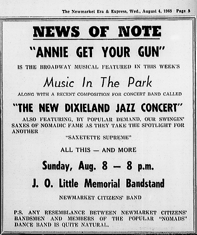 Annie Get Your Gun is the Broadway Musical featured in this week's Music In The Park along with a recent composition for concert band called The New Dixieland Jazz Concert