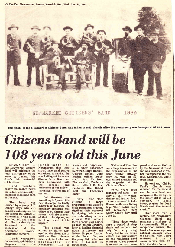 Citizens Band will be 108 years old this June