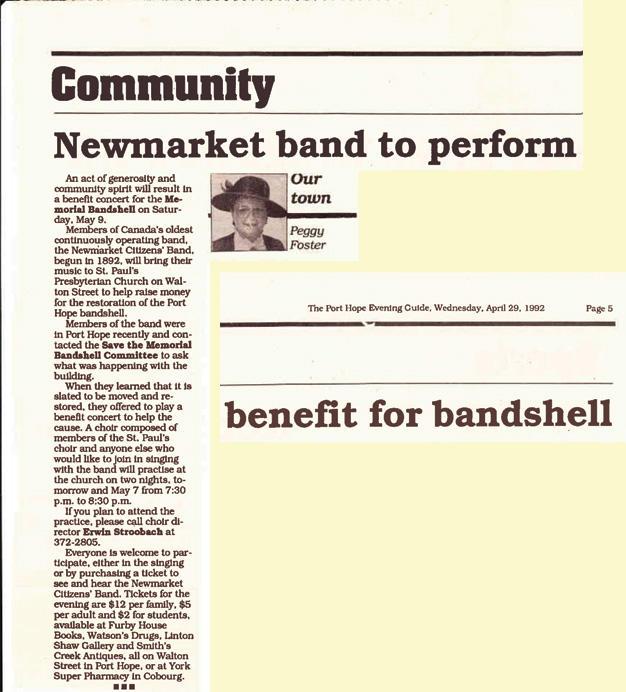 Members of Canada's oldest continuously operating band, the Newmarket Citizens Band begun in 1872 will bring their music to St Pauls Presbyterian Church on Walton Street to help raide money for the restoration of the Port Hope bandshell.