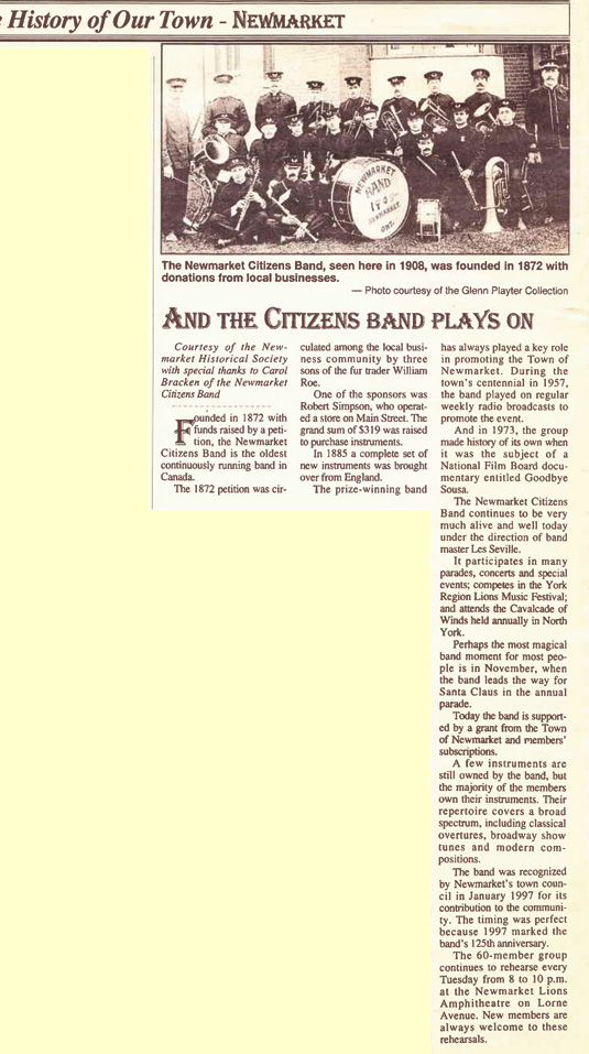 In a History of Our Town, The Citizens Band Plays On