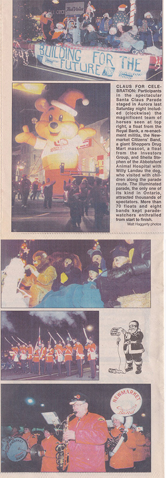 Parading in the Aurora Santa Claus Parade in 1999