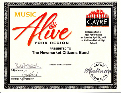 Music Alive York Region Platinum standing for the Newmarket Citiznes Band